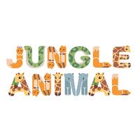おもしろ文字_ジャングルの動物