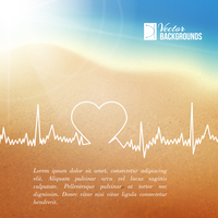 Heart shape ECG line over blurred background. Vector illustration.