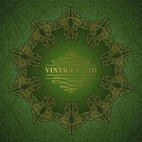 Damask medallion over green background for your vintage card. Vector illustration.