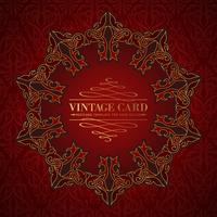 Damask medallion over red background for your vintage card. Vector illustration.