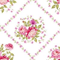 Seamless vintage flower pattern on stripe background. Vector illustration.
