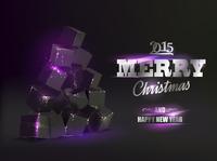 Christmas card with box pyramid like fir-tree over black background. 60016000750| 写真素材・ストックフォト・画像・イラスト素材|アマナイメージズ