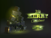 Christmas card with box pyramid like fir-tree over black background. 60016000752| 写真素材・ストックフォト・画像・イラスト素材|アマナイメージズ
