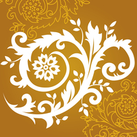 Floral ornament in gold, vector