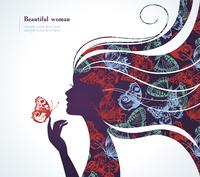 Beautiful girl with butterfly  60016001129  写真素材・ストックフォト・画像・イラスト素材 アマナイメージズ