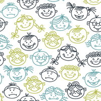 Seamless pattern of baby cartoon faces