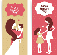 Happy Mother's Day. Banners of beautiful silhouette of mother and baby in vintage style