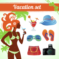 Vacation and travel icon set, infographics for modern women