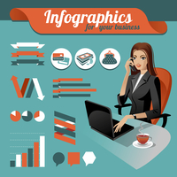 Business nfographics. Set of infographics elements and beauty business woman