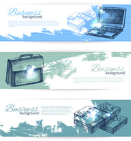 Banner set of hand drawn business backgrounds