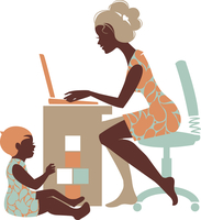 Beautiful silhouette of mother ? freelancer with notebook and baby playing with toys