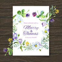 Wedding invitation card with watercolor floral bouquet. Vector background