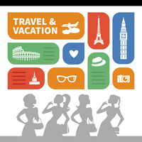 Travel and vacation shopping background.  Beautiful girl silhouettes and  flat design with travel icons