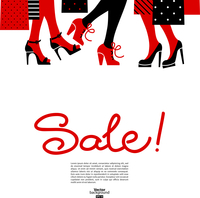 Shopping women. Sale design with beautiful girl silhouettes  60016001384| 写真素材・ストックフォト・画像・イラスト素材|アマナイメージズ