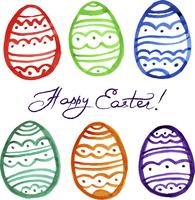 Easter watercolor eggs. Vector illustration  60016001390| 写真素材・ストックフォト・画像・イラスト素材|アマナイメージズ