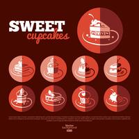 Sweet cupcakes. Flat icon set. Menu design 60016001404| 写真素材・ストックフォト・画像・イラスト素材|アマナイメージズ