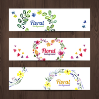 Watercolor invitation card with floral bouquet. Set of vector banners