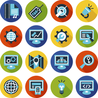 SEO and internet optimization flat icon set. Isolated vector illustration