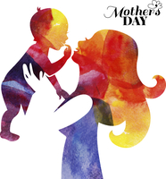 Watercolor mother silhouette with her baby. Card of Happy Mothers Day. Vector illustration with beautiful woman and child 60016001483| 写真素材・ストックフォト・画像・イラスト素材|アマナイメージズ