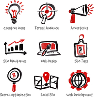 SEO and internet optimization icon set. Hand drawn watercolor isolated vector illustrations