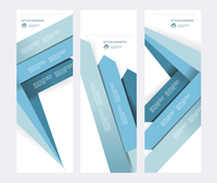 Set of abstract vector paper banners with blue arrows.