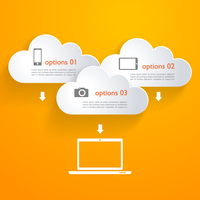 Vector Network clouds with infographic elements and icons