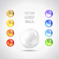 Holiday gem, set of balls all rainbow colors. Vector illustration.