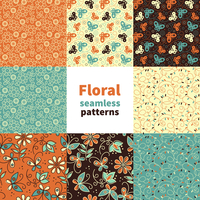 Abstract floral seamless pattern set  60016001655  写真素材・ストックフォト・画像・イラスト素材 アマナイメージズ