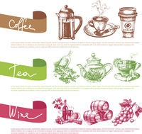 Vector set of coffee, tea and wine sketch illustrations. Menu design templates