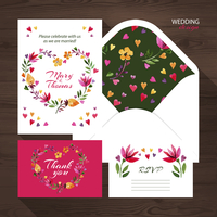 Vector wedding set with watercolor floral illustration. Wedding invitation, thank you card, envelope and RSVP card. 60016001659| 写真素材・ストックフォト・画像・イラスト素材|アマナイメージズ