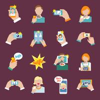 Selfie self portrait camera portrait photo taking flat icons set isolated vector illustration. 60016001665| 写真素材・ストックフォト・画像・イラスト素材|アマナイメージズ
