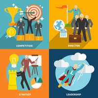 Leadership flat icons set with competition director strategy isolated vector illustration