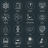 Science areas outline icons set with physics chemistry psychology isolated vector illustration