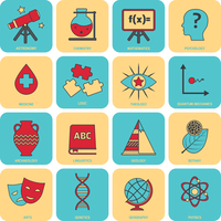 Science areas flat line icons set with astronomy chemistry mathematics symbols isolated vector illustration 60016001686| 写真素材・ストックフォト・画像・イラスト素材|アマナイメージズ