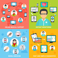 Mobile health online medical support distant monitoring flat set isolated vector illustration