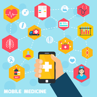 Mobile health concept with human hand holding smartphone and medicine icons connected vector illustration