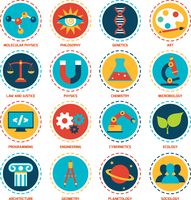 Science areas icons set with molecular physics philosophy genetics art isolated vector illustration 60016001694| 写真素材・ストックフォト・画像・イラスト素材|アマナイメージズ
