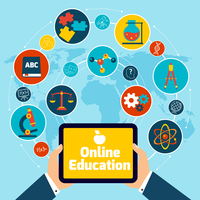 Online education concept with science icons human hand holding mobile tablet vector illustration. 60016001697| 写真素材・ストックフォト・画像・イラスト素材|アマナイメージズ