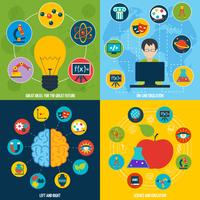 Science flat icons education set with on-line education ideas isolated vector illustration 60016001699| 写真素材・ストックフォト・画像・イラスト素材|アマナイメージズ