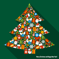 Merry christmas and happy newy year icons in pine tree shape vector illustration 60016001703| 写真素材・ストックフォト・画像・イラスト素材|アマナイメージズ