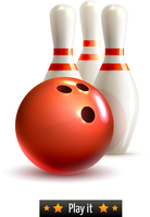 Bowling ball and pins realistic game set isolated on white background vector illustration