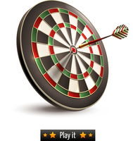 Darts board goal target competition realistic isolated on white background vector illustration