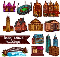 Sketch city building architecture decorative color icons set  isolated vector illustration