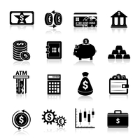 Bank service money black icons set with cash banknote and coins isolated vector illustration