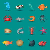 Seafood icons set with fish octopus shrimp stingray isolated vector illustration