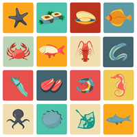 Seafood icons flat set with seahorse eel stingray sushi isolated vector illustration