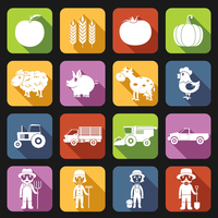 Farm agriculture farmer avatar flat icons set isolated vector illustration