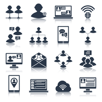 Global people communication social media network connection black icons set isolated vector illustration
