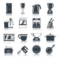 Kitchen appliances icons black set with coffee machine oven dishwasher knifes isolated vector illustration.