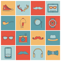 Hipster geek urban fashion elements and accessories flat line icons set isolated vector illustration 60016001742| 写真素材・ストックフォト・画像・イラスト素材|アマナイメージズ